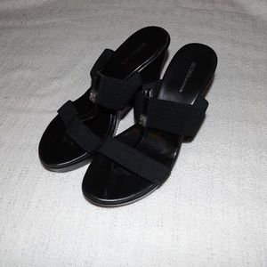 BCBG 9M Black Wedge Sandals